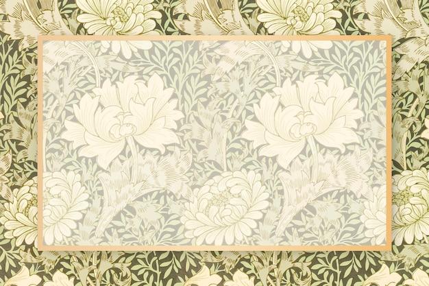 Espaço de cópia vetorial retangular com moldura floral antiga