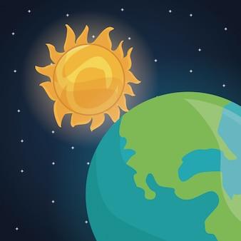 Espaço de cores paisagem de fundo com sol estrela e planeta terra