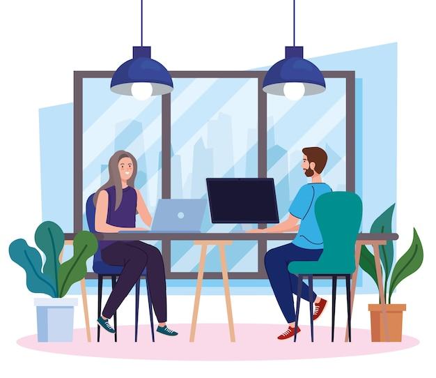 Espaço de coworking, casal na mesa com computadores, ilustração do conceito de trabalho em equipe