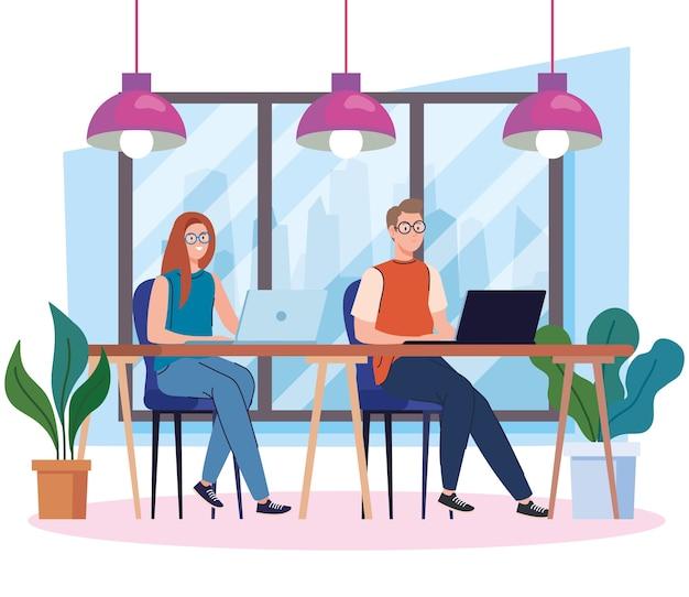 Espaço de coworking, casal na mesa com laptops, ilustração do conceito de trabalho em equipe