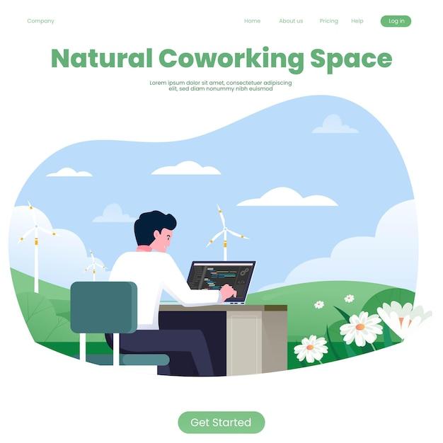 Espaço de coworking com template natural