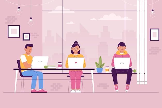 Espaço de coworking de equipe desenhada à mão plana