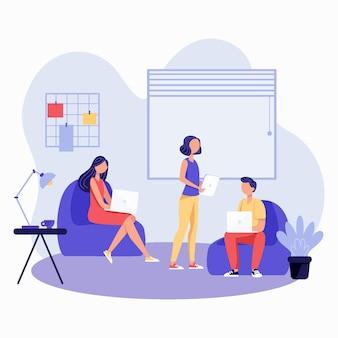 Espaço de coworking desenhado à mão ilustrado