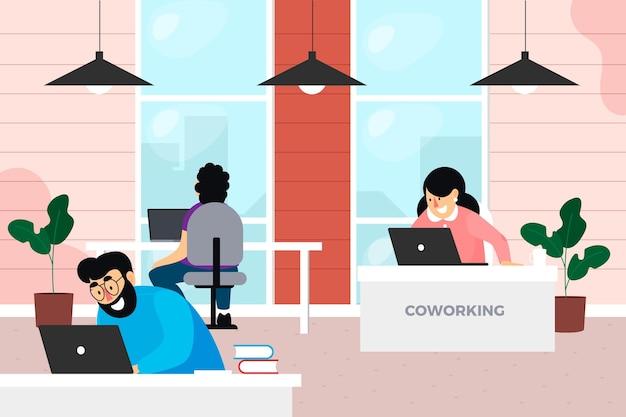 Espaço de coworking desenhado à mão plana