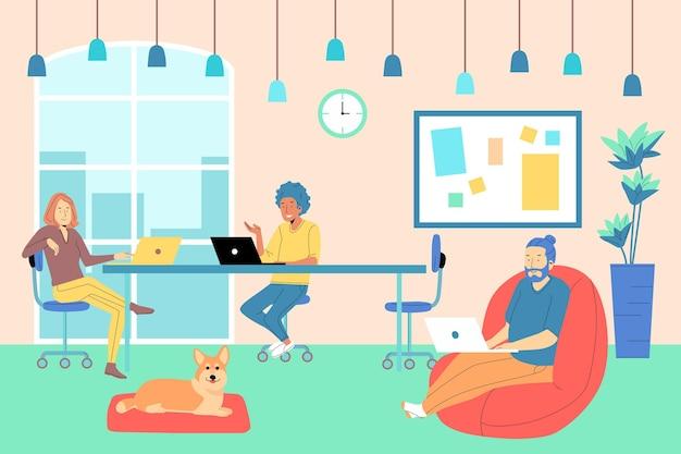 Espaço de coworking desenhado à mão