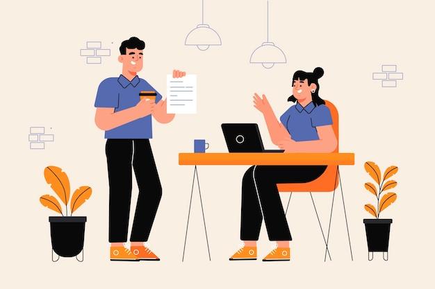 Espaço de coworking duplo desenhado à mão plana