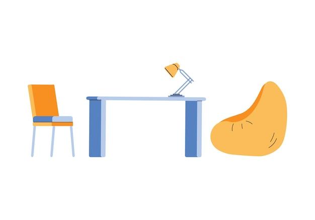 Espaço de coworking em estúdio moderno ou escritório confortável uma ilustração vetorial