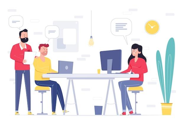 Espaço de coworking ilustrado