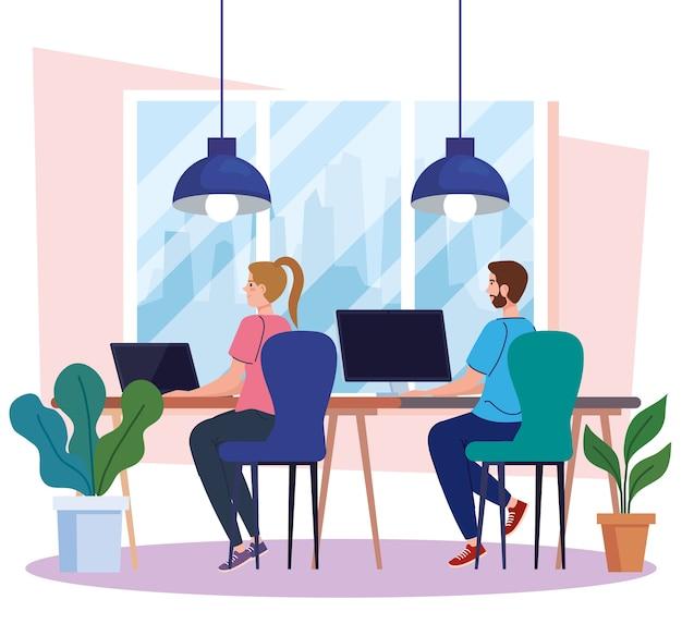 Espaço de coworking, jovem casal na mesa com computadores, ilustração do conceito de trabalho em equipe