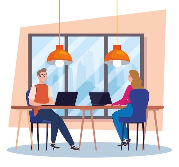 Espaço de coworking, jovem casal na mesa com laptops, ilustração do conceito de trabalho em equipe