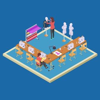 Espaço de coworking para designers. conceito de vetor de classe isométrica atelier