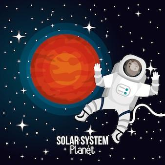 Espaço de desenhos animados de astronauta isolado