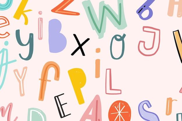 Espaço de design de tipografia de alfabeto de doodle desenhado à mão