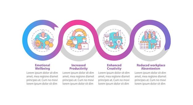 Espaço de escritório para aumentar a produtividade ilustrações de modelos de infográfico