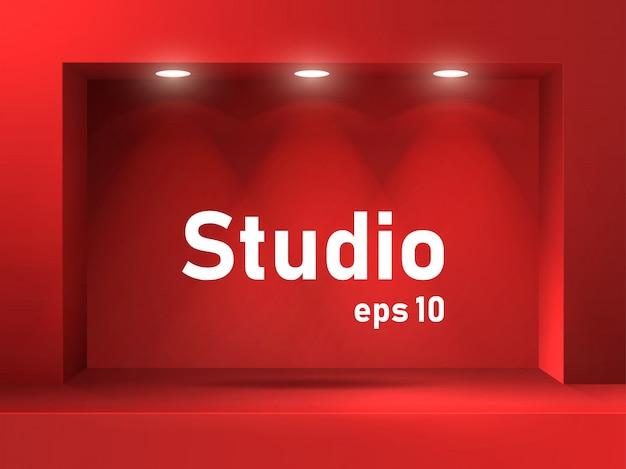 Espaço de estúdio iluminado vazio