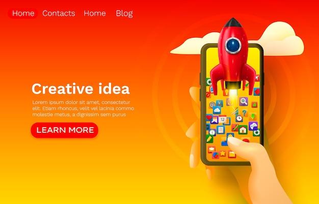 Espaço de foguete de ideia criativa, inicialização móvel, design de banner de site da web.