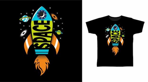 Espaço de foguete para design de camisetas
