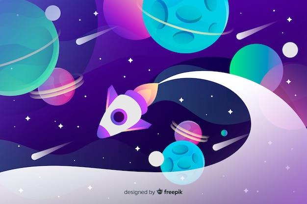 Espaço de gradiente com um foguete