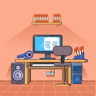Espaço de trabalho com elementos de escritório