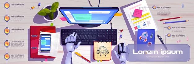 Espaço de trabalho com mãos de robô trabalhando no teclado do computador