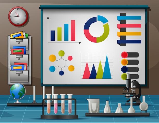 Espaço de trabalho com mesa cheia de instrumentos para experimento científico