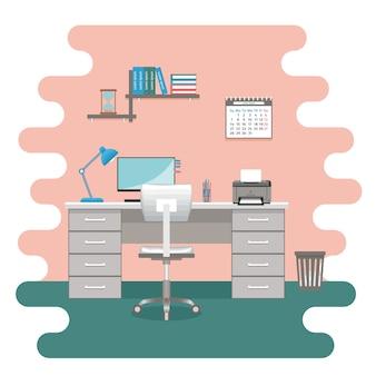 Espaço de trabalho com mobília. interior da sala de escritório sem pessoas em design plano.