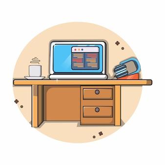 Espaço de trabalho com um computador