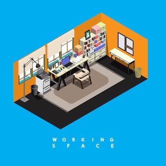 Espaço de trabalho contemporâneo isolado no fundo