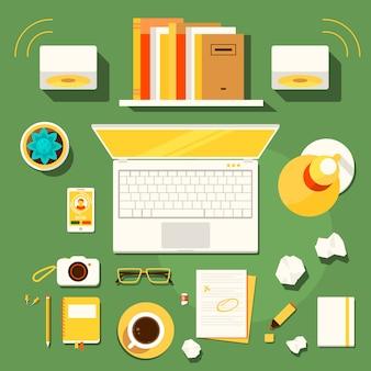 Espaço de trabalho criativo do escritor