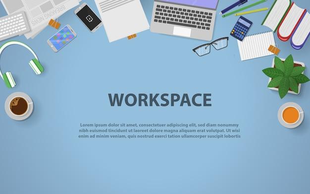 Espaço de trabalho da vista superior para negócios