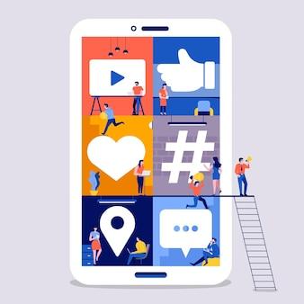 Espaço de trabalho de conceito de design plano de ilustrações para a construção de plataforma de mídia social