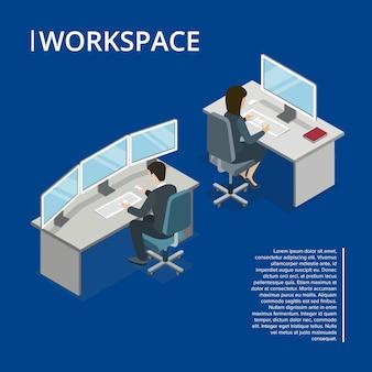 Espaço de trabalho de escritório 3d isométrico