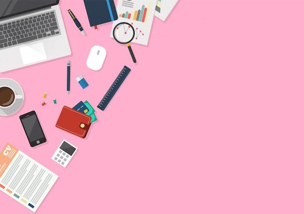 Espaço de trabalho de escritório com artigos de papelaria na vista superior