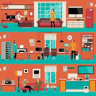 Espaço de trabalho de escritório moderno vetor definido em estilo simples