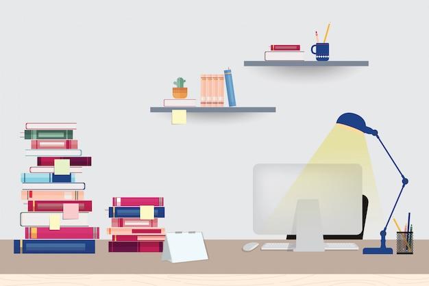 Espaço de trabalho de ilustração com computador, livros e artigos de papelaria em cima da mesa