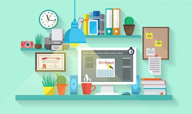 Espaço de trabalho de negócios no interior do quarto