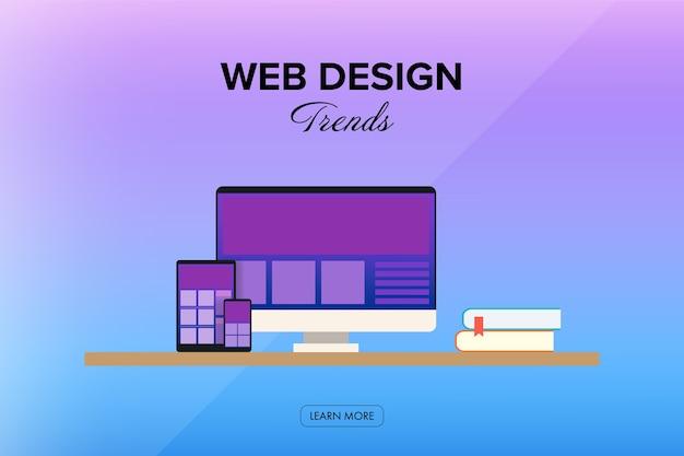 Espaço de trabalho de tendência de design da web para design criativo.
