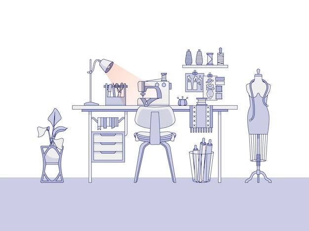Espaço de trabalho de um designer de moda ou um alfaiate