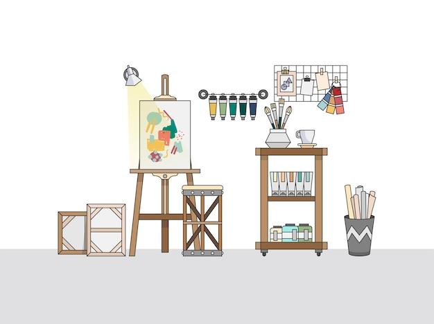 Espaço de trabalho de um pintor artístico
