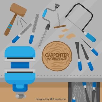 Espaço de trabalho do carpinteiro