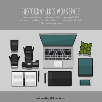 Espaço de trabalho do fotógrafo desenhado a mão