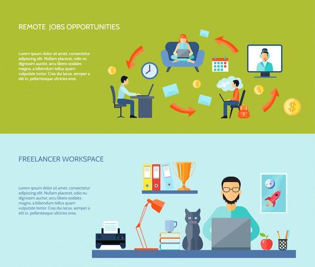 Espaço de trabalho do freelancer em casa e oportunidades de empregos remotos