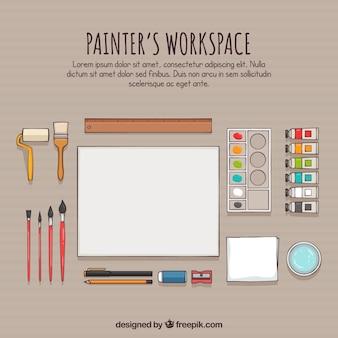 Espaço de trabalho do pintor desenhado a mão