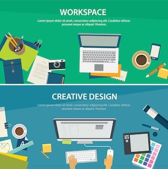 Espaço de trabalho e modelo de banner de design criativo