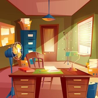 Espaço de trabalho, interior da sala de estudo. desktop com mesa, armário, lâmpada, ventilador