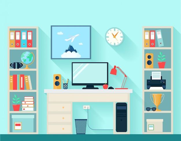 Espaço de trabalho na sala com mesa de computador