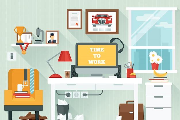 Espaço de trabalho no quarto