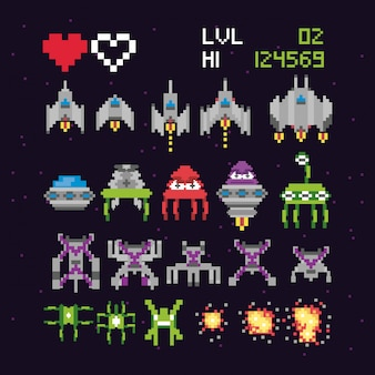 Espaço de videogame retrô pixelizada conjunto de ícones