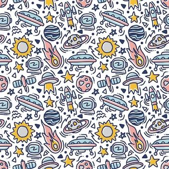 Espaço doodle elemento sem costura padrão
