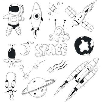 Espaço doodles conjunto de ícones.